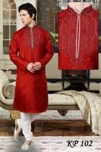 Fancy red kurta pyjamas for men