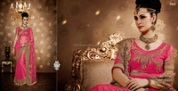 Pink Color Net Fabric Saree comes with Pink Color Dupion Fabric blouse