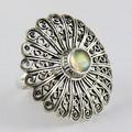 Hermoso y brillante de ley 925 fuego azul labradorita anillo de plata, indio de piedras preciosas joyas de plata