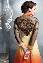 Passionate Orange and Cream color with black embroidery Long Designer Semi Stitch Salwar Kameez