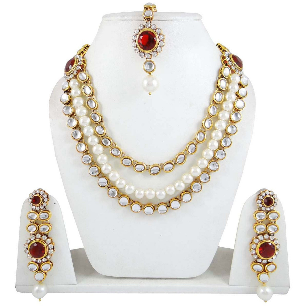 Indian Bridal Wedding Pearl Rani Haar Choker Necklace Sets: Ethnic Pearl Jewelry Set Rani Haar 3 Strand Necklace Sets