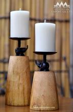 Candle holder mango wood rough texture with elephant decor