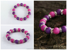 Bracelet made from ceramic beads with elastic band