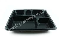Black plastic compartment disposable plate