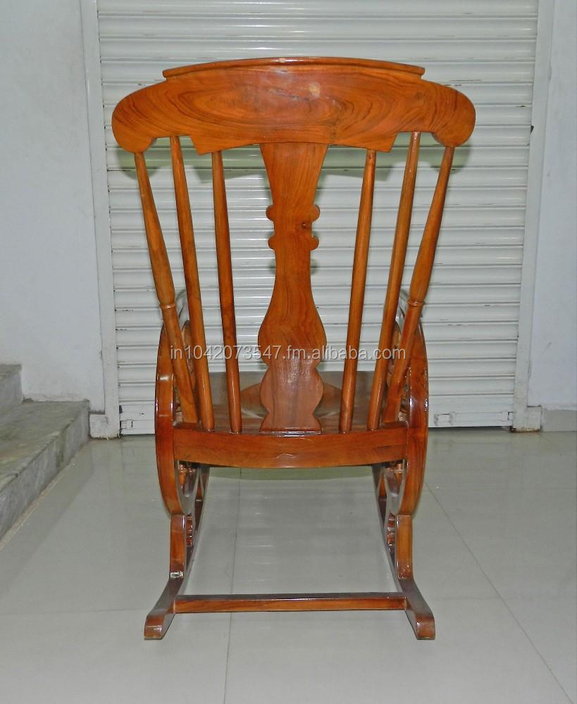 burma teak wood chariot design rocking chair for lounge. Black Bedroom Furniture Sets. Home Design Ideas