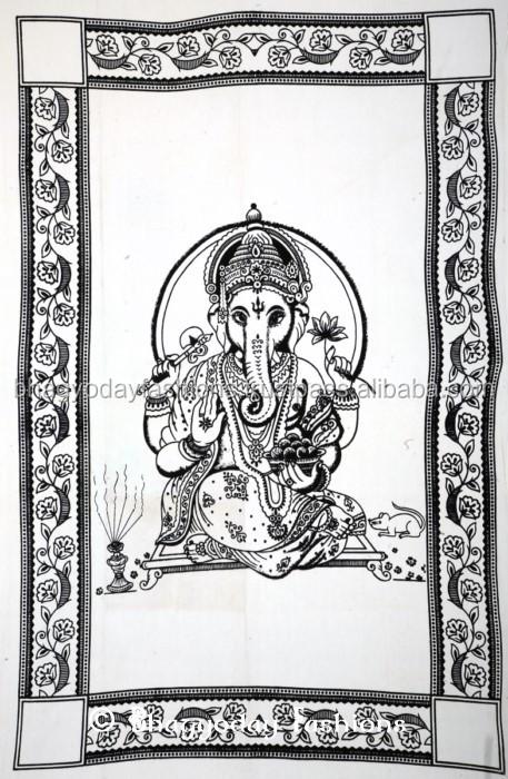 indienne religieux hindous ganesh sequin jetez coton peinture murale tapisserie ethnique gypsy. Black Bedroom Furniture Sets. Home Design Ideas