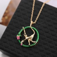 Rhinestone Zinc Alloy Necklace with 2lnch extender chain Monkey gold color plated with painted & oval chain & with rhinestone n