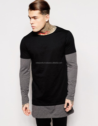 Plus Size longline long sleeve t-shirt extra length t shirt solid tall tee men tshirt with zipper to the hem XS to 4XL