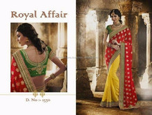 Parrot Green Color Blouse For Yellow & Red Color Mixed Royal Affair Designer Saree