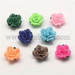 Handmade Polymer Clay 3D White Dot Flower Beads, Mixed Color, 20x10mm, Hole: 2mm
