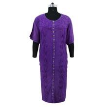Full Sleeve Rayon Dress Embroidered Long Maxi Purple Dress Boho Gown Size XXXL