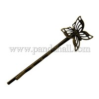Iron Hair Bobby Pin Findings, Butterfly, Antique Bronze Color, 2x61x2mm PHAR-Q035-AB