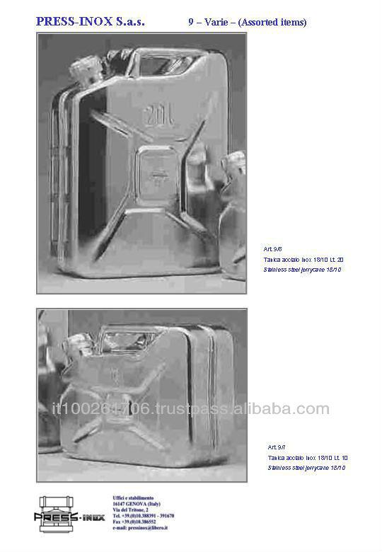 Paslanmaz çelik 18/10 jerry kamışı 5,10,20 lt AISI 304