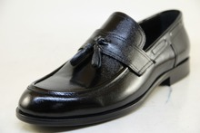 Printed Genuine Black Calf Leather Men's Dress Shoes