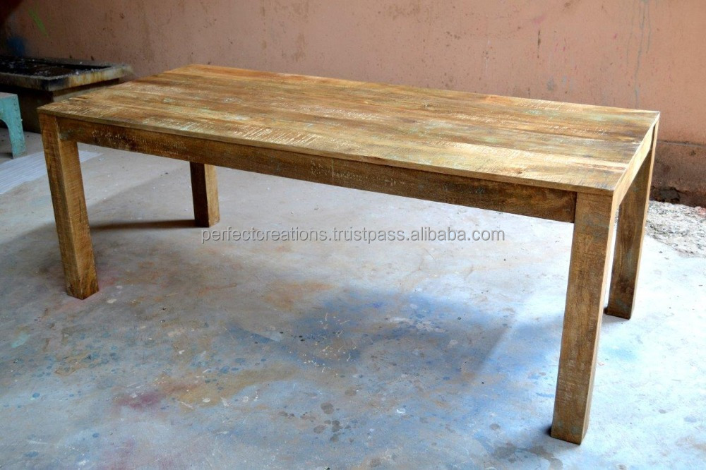 Dining table reclaimed solid wood buy jodhpur industrial for Buy reclaimed wood online