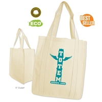 "Full Color Print Store Shopper Cotton Tote Bag - made from 100% 10 oz. cotton canvas and measures 15""h x 13.5""w x 8""d."