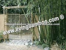 red de jardín puerta de bambú con pérgola