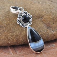 925 Sterling Silver Botswana & Black Onyx Gemstone Pendant, celebrity style pendant, Exporter fashion pendant