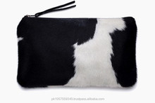 Fancy Ladies Clutches Woman evening Small Purses Tassel Cowhide Clutches Stylish Cow Hide Tote Bags.