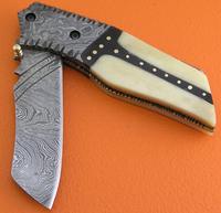 Damascus Steel Camel Bone Buffalo Horn Handle Lock Back Folding Knife