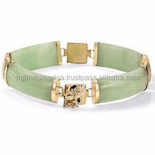 2015 Newest Hand Made Jewelry 14k Yellow Gold Emerald Jade Bracelet