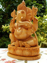 2015 New Wooden Ganesh Statue - Hand Carved Sitting on Lotus/Wood carging handicraft/Wooden god statue/Decorative God Statue
