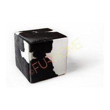 COWHIDE real Leather CUBE COVER PUFF BLACK WHITE
