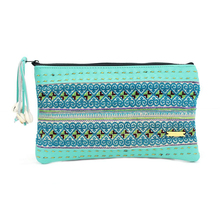Hmong Hill Tribe Vintage Leather Clutch - Jade