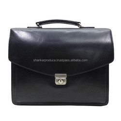 Leather Briefcase Bag along classical lines