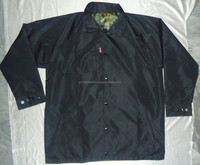 Custom Made Simple Black and one side Camo reversible coach jacket