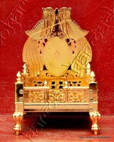 SIMHASAN PRAYER ALTAR PEDESTAL SEAT GOD MANDAP MANDIR CHAIR STATUE METAL IDOL OM