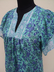 Beautiful hand-block design printed cotton voile fabric blouses for girls wear / ethnic printed design blouses