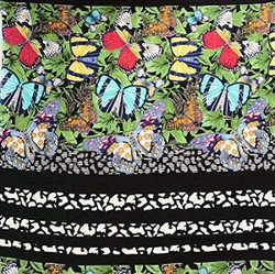 Butterfly Print Decorative Black Cotton Non-Transparent Thick Fabric FBC6045A
