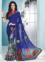 2015 new style designer indian sarees\function wear designer sarees\blue color designer saree