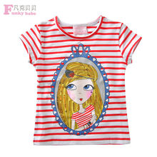 2015 New Fashion Junir Girls Printed Tee, Monaco Girl Range Striped T Shirt
