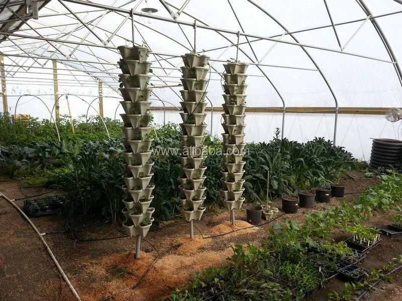 Vertical Gardening Planter Pots Plastic Stackable Garden Tower Containers Decorative Indoor