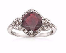 Garnet and Diamond Ring in Sterling Silver/High quality fashion gemstone ring/Ring for women