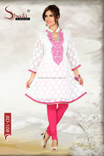 Girlish Grace Pink n White Embroidered Long Kurta