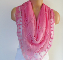Triangle Scarf With Lace-Shawl Scarf-Cotton Scarf-New Season -Fall Fashion-Pashmina Scarf- Neckwarmer- Infinity Scarf