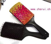 bling rhinestone design Plastic rubber hair brush