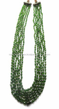 Top Quality Natural Chrome Diopside Graduated Straight Drill Drops Faceted Loose Beads Strand
