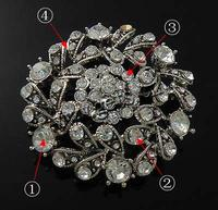 Rhinestone Zinc Alloy Brooch Flat Round plated with rhinestone more colors for choice nickel lead & cadmium free 54x54mm Sold B