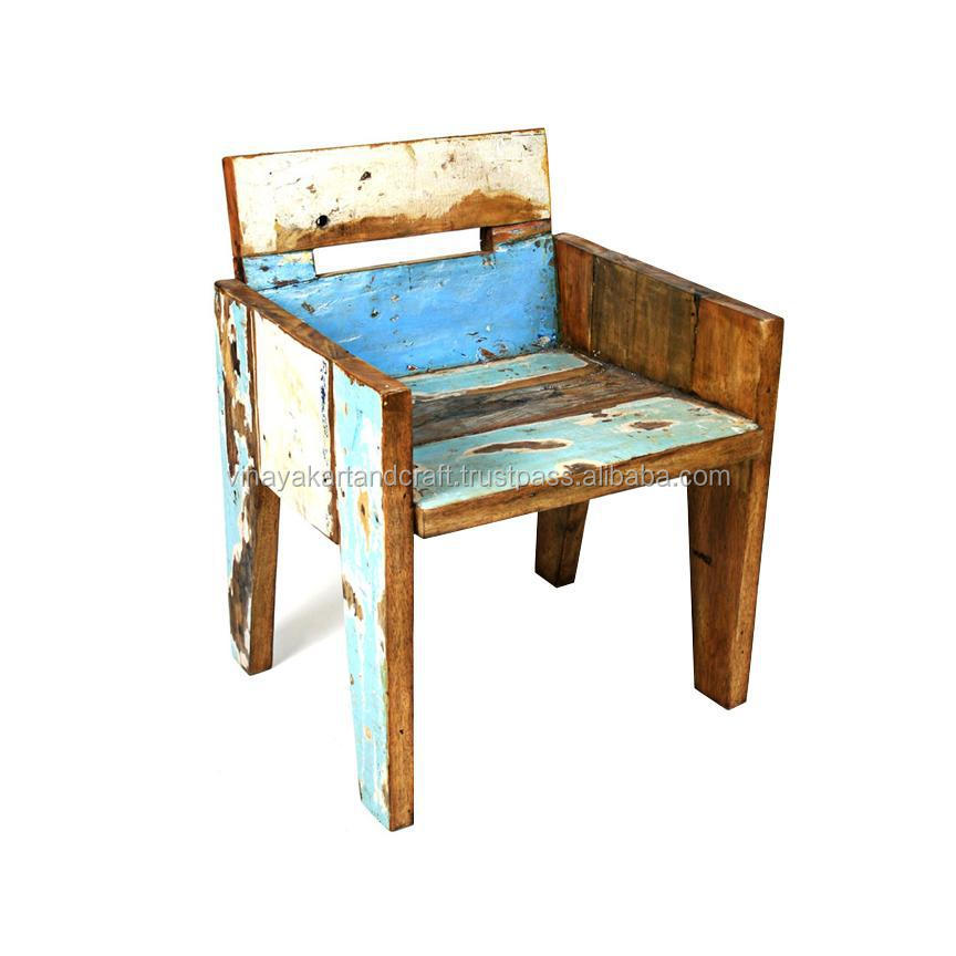 india antique recycle wooden armrest dining chair