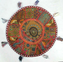 "22"" Floor Round Pillow Cushion Cover Brown Handmade Embroidered Floor Tapestry Throw INDIAN"