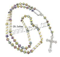 Crystal Necklace with ABS Plastic & Aluminum & Zinc Alloy Crucifix Cross plated faceted 30x49x5mm 5.5x8mm 4mm 29.5x6mm Sold Per
