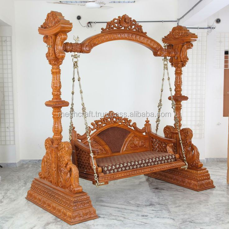 Wholesale Indian Handmade Wood Carved Jhoolas Wooden Hand Carved Swing Home Decor Swings Artisic