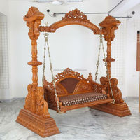 Wholesale Indian handmade wood Carved Jhoolas-Wooden Hand Carved Swing-Home decor Swings-Artisic Indian Wooden Handicraft Swing