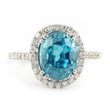 Beauty Jewellery Hot Selling Collection - Faceted 14x12 mm Oval Shaped Blue Zircon With 92.5 Silver Rings at wholesale