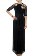 2015 Latest Designer Hot Black wide legged pleated floral pattern gold dabka and resham work jumpsuit for women