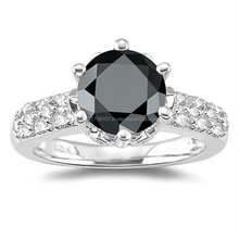Certified 6.00CT Round Cut Real & Natural Black Diamond Engagement Ring